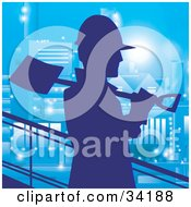 Clipart Illustration Of A Silhouetted Construction Worker Walking Past With A Shovel On His Shoulder Against A Blue Building At Night