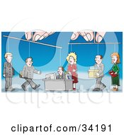 Clipart Illustration Of A Pair Of Hands Controlling Puppet Employees As They Conduct Their Work In An Office
