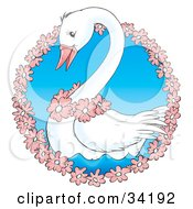 Clipart Illustration Of A Cute White Swan Wearing Pink Flowers Swimming In A Circle Of Flowers by Alex Bannykh