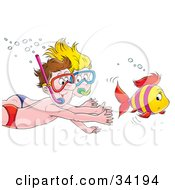 Clipart Illustration Of A Happy Couple Chasing A Fish While Swimming And Snorkeling by Alex Bannykh