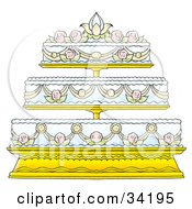 Clipart Illustration Of An Elegant Three Tiered Wedding Cake Adorned In Floral Frosting Designs