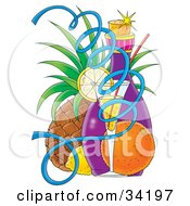 Clipart Illustration Of A Lemon Wedge On A Cocktail Glass With An Orange Lemon Bottle And Pineapple