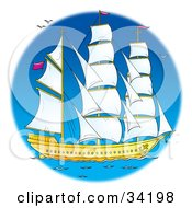 Clipart Illustration Of A Tall Sail Boat With Its Sails Open Out At Sea by Alex Bannykh