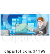 Clipart Illustration Of A Professional Businessman Sitting In A Chair In His City Office Holding Cash And Smiling A Graph Of Profits On His Computer by Alex Bannykh