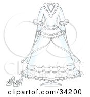 Clipart Illustration Of A White Bridal Gown Wedding Dress And Shoes On A Stand