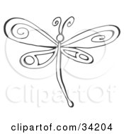 Clipart Illustration Of A Black And White Dragonfly With Pretty Designs On Its Wings