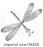 Clipart Illustration Of A Black And White Rubber Stamp Design Of A Dragonfly With Ink Spots
