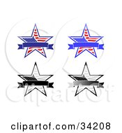 Clipart Illustration Of Four Patriotic American Stars With Blank Banners