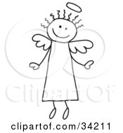 Clipart Illustration Of A Happy Flying Stick Angel With Hair And A Halo