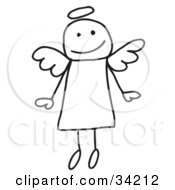 Clipart Illustration Of A Cute Flying Stick Angel With A Halo by C Charley-Franzwa #COLLC34212-0078