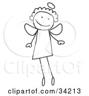 Clipart Illustration Of A Happy Smiling Flying Stick Angel With A Halo by C Charley-Franzwa