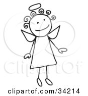 Cute Flying Female Stick Angel With A Halo And Curly Hair