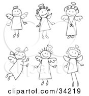 Clipart Illustration Of A Group Of Six Different Stick Angels With Halos