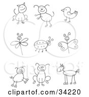 Clipart Illustration Of A Stick Figure Cat Dog Bird Dragonfly Ladybug Butterfly Pig Pupy And Horse by C Charley-Franzwa #COLLC34220-0078