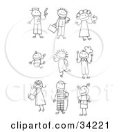 Clipart Illustration Of A Stick Police Officer Late Businessman Teacher Baby Child Chef Teenager Prisoner And Kid by C Charley-Franzwa #COLLC34221-0078