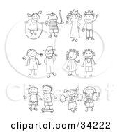 Clipart Illustration Of A Stick Girl Juming Rope Boy Playing Baseball King Queen Farmer And Wife Skating Girl Skateboarding Boy Cheerleader And Football Player by C Charley-Franzwa #COLLC34222-0078