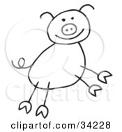 Clipart Illustration Of A Happy Stick Figure Pig by C Charley-Franzwa