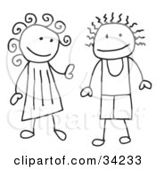 Clipart Illustration Of A Happy Stick Boy And Girl by C Charley-Franzwa #COLLC34233-0078