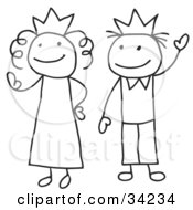 Clipart Illustration Of A Stick Queen And King Or Princess And Prince by C Charley-Franzwa #COLLC34234-0078