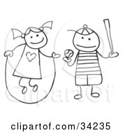 Clipart Illustration Of A Stick Girl And Boy Jumping Rope And Playing Baseball by C Charley-Franzwa #COLLC34235-0078