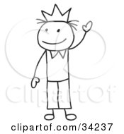 Clipart Illustration Of A Stick King Or Prince Wearing A Crown And Waving by C Charley-Franzwa