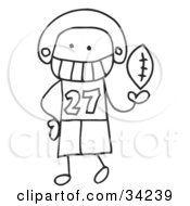 Clipart Illustration Of A Stick Football Player