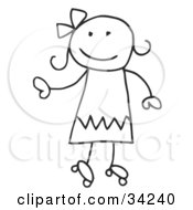Clipart Illustration Of A Happy Stick Girl Roller Skating by C Charley-Franzwa #COLLC34240-0078