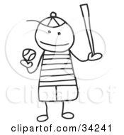 Clipart Illustration Of A Stick Boy Playing Baseball