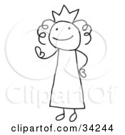 Clipart Illustration Of A Stick Queen Or Princess Wearing A Crown And Waving by C Charley-Franzwa #COLLC34244-0078
