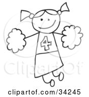 Clipart Illustration Of A Happy Stick Cheerleader Girl Holding Pom Poms by C Charley-Franzwa #COLLC34245-0078