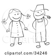 Clipart Illustration Of A Stick Woman And Farmer Man by C Charley-Franzwa #COLLC34246-0078