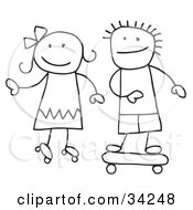 Clipart Illustration Of A Stick Boy And Girl Skateboarding And Roller Skating