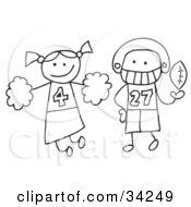Clipart Illustration Of A Stick Cheerleader And Football Player by C Charley-Franzwa #COLLC34249-0078
