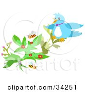 Clipart Illustration Of A Blue Bird Perched On A Flowering Plant With Honey Bees