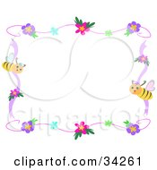 Clipart Illustration Of A Spring Stationery Border Of Colorful Flowers Purple And Pink Ribbons And Honey Bees by bpearth