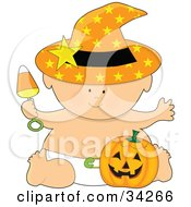 Clipart Illustration Of A Halloween Baby In An Orange Starry Witchs Hat And Diaper Holding A Candy Corn Rattle And Sitting With A Pumpkin by Maria Bell