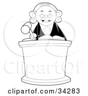 Stern Male Judge Behind A Podium Wearing A White Wig And Banging His Gave