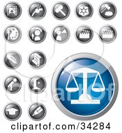 Clipart Illustration Of A Blue Scales Of Justice Icon Button With A Set Of Legal Entertainment Art And Educational Icons