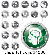 Clipart Illustration Of A Green Brain Icon Button With A Set Of Transportation Animal Conscience Fitness And Mouse Icons by Eugene