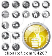 Yellow Thumb Print Identity Icon Button With A Set Of Graph Math Punctuation And Other Icons