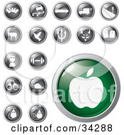 Clipart Illustration Of A Green Apple Icon Button With A Set Of Transportation Animal Religion Fitness And Other Icons