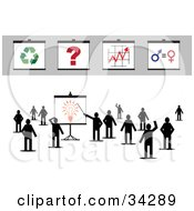 Clipart Illustration Of A Group Of Silhouetted People Standing And Waving One Pointing To A Light Bulb On A Board Other Boards On Top