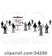 Clipart Illustration Of A Group Of Silhouetted People Standing And Waving One Pointing To A Decreasing Chart On A Board