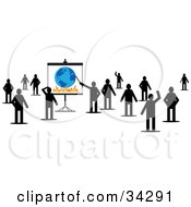 Group Of Silhouetted People Standing And Waving One Pointing To A Globe And Flames On A Board