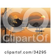 Clipart Illustration Of A Scenic Asian View Of An Orange Sunset Over Bamboo Trees And A Hut On Still Waters With Hills In The Background