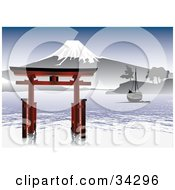 Clipart Illustration Of A Scenic Asian View Of A Boat Near A Structure On Rippling Water With A Snow Capped Mountain Under A Blue Sky