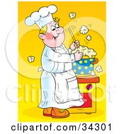 Clipart Illustration Of A Happy Blond Male Chef Stirring A Hot Pot Of Over Flowing Soup In A Kitchen by Alex Bannykh