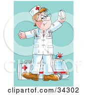 Clipart Illustration Of A Happy Male Caucasian Paramedic Standing With A First Aid Kit Holding Up A Pill An Ambulance In The Background by Alex Bannykh