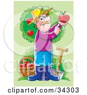 Clipart Illustration Of A Male Caucasian Farmer With A Shovel And Basket In An Apple Orchard Holding Up A Perfect Red Apple by Alex Bannykh