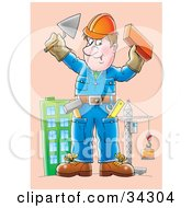 Friendly Male Construction Worker Holding Up A Brick And Trowel A Skyscraper And Crane In The Background